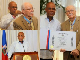 Pastor Wallace Turnbull decorated by the President Martelly