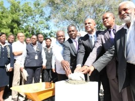 Haiti - Reconstruction : Laying the first stone of the new premises of the AGD