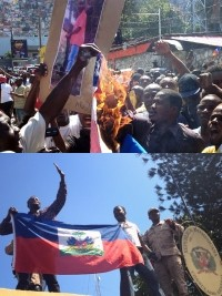 Haiti - Social : The Haitian flag waving on the Dominican Consulate !