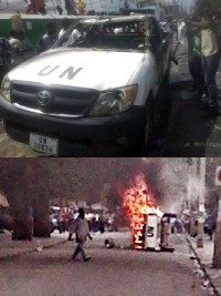 Haiti - Social : An UN vehicle torched...