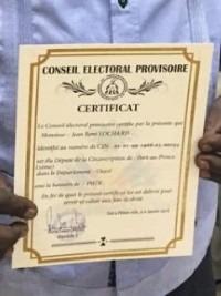 Haiti - NOTICE : Delivery of certificates to elected, by the CEP