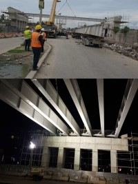 iciHaiti - Work : Installation of the steel beams of the Carrefour interchange