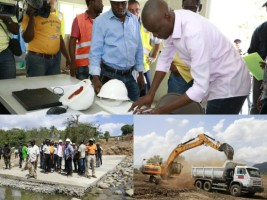 Haiti - Politic : Moïse visits the construction site of the dam on the Marion River