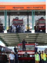 Haiti - Cap-Haïtien : The Fire Protection Corps of the Airport, modern and well equipped