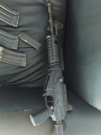 An assault rifle of the PNH used during a bank robbery in Santo Domingo