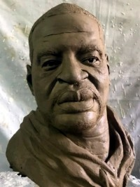 iciHaiti - Solidarity : Bust of Georges Floyd of the Haitian sculptor Woody Caymitte