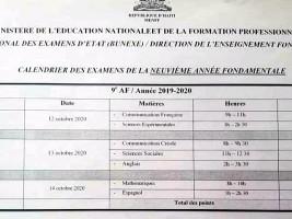 Haïti - FLASH : Calendrier des examens de la 9ème A.F. et nombre de points par épreuve