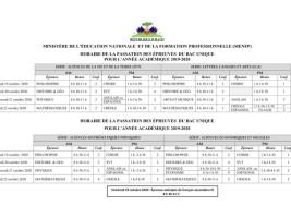 Haïti - FLASH : J-1, Calendrier et horaires des épreuves du Bac