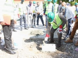 Haiti - Education : Laying of the foundation stone of the Lycée National de Frères