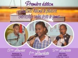 iciHaïti - Culture : Lauréats du Concours National de Plaidoirie inter-scolaire sur les Droits des femmes