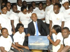 Haiti - Tourism : Courtesy visit of the President Martelly to the crew of Adriana