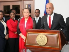 Haiti - Politic : The President Martelly is back in the country (speech)