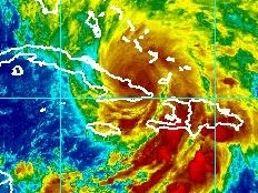 Haiti - Environment : Sandy, Haiti in red, first impacts