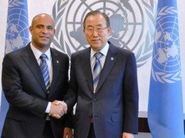 Haiti - Politic : Laurent Lamothe talked about cholera and election with Ban Ki Moon