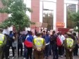 Haiti - Chile : Exasperated Haitians demonstrate in front of the Embassy of Haiti in Santiago